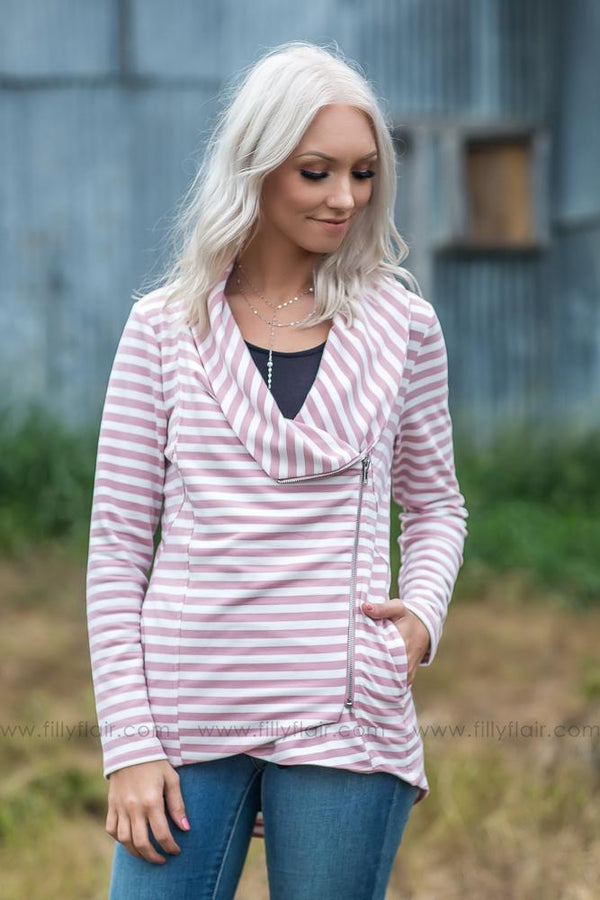 All Time Favorite Long Sleeve Striped Zip Up Jacket In Pink - Filly Flair