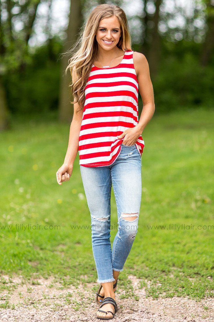 An Old Tradition Striped Tank Top in Red