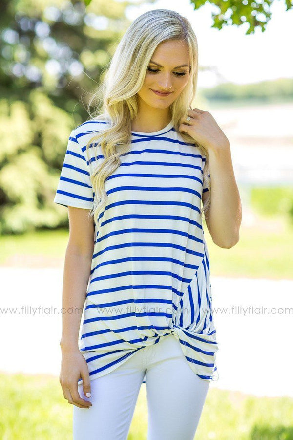 Nautical Day Blue and White Striped Short Sleeve Top with a Knot