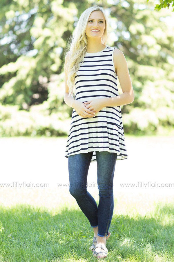 White and Navy Striped Sleeveless Tunic with a Ruffled Hem