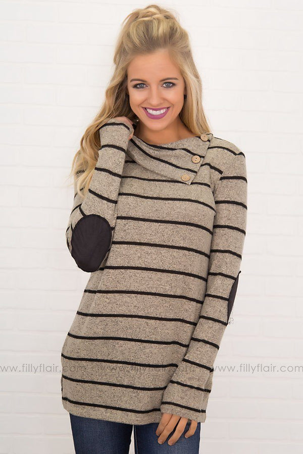 Girl Crush Button Neckline Long Sleeve in Taupe