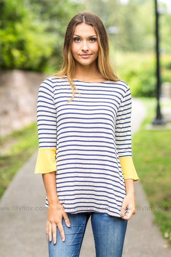 Laying Low Oatmeal and Navy Striped Mustard Sleeve Top