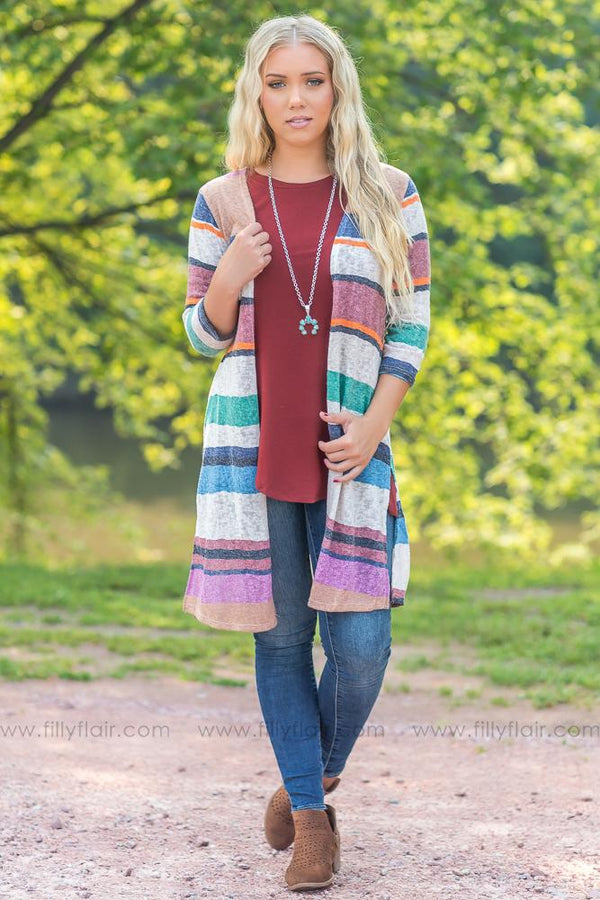 Multi Love Striped Cardigan - Filly Flair