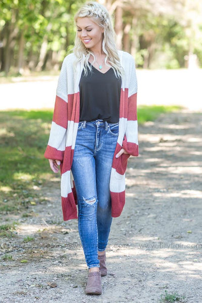 More Like You Long Sweater Cardigan In Ivory Rust - Filly Flair