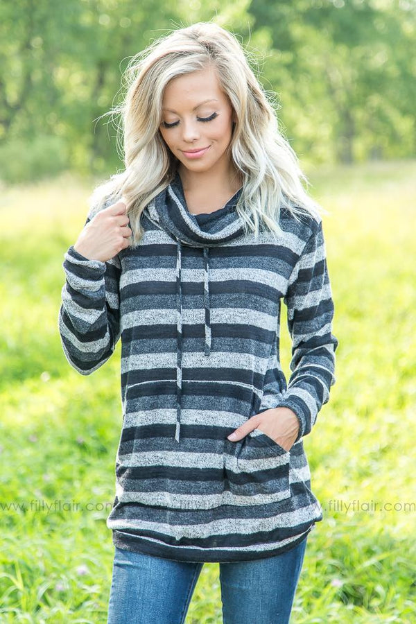 Coming Home Striped Cowl Neck Sweater