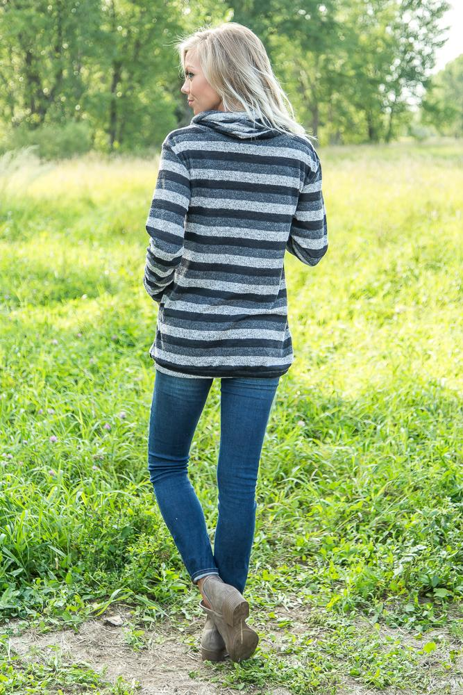 Coming Home Striped Cowl Neck Sweater - Filly Flair
