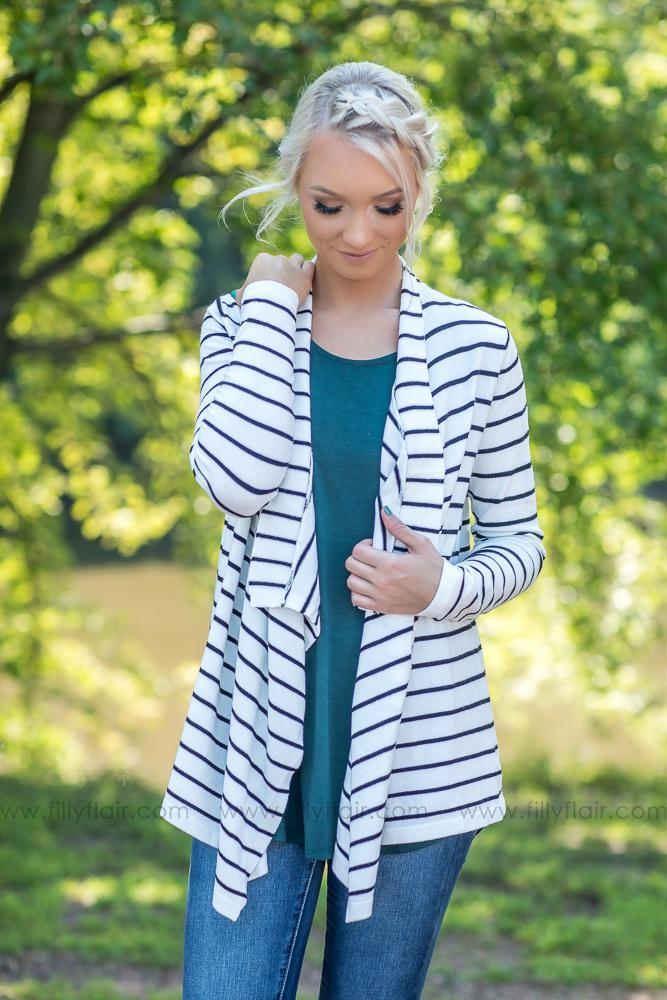 More Like Her Striped Waterfall Open Sweater Cardigan in White - Filly Flair