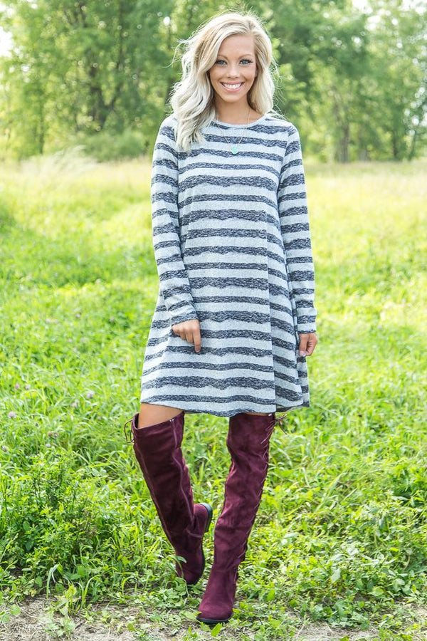 Who You Are Striped Sweater Dress in Black and Grey