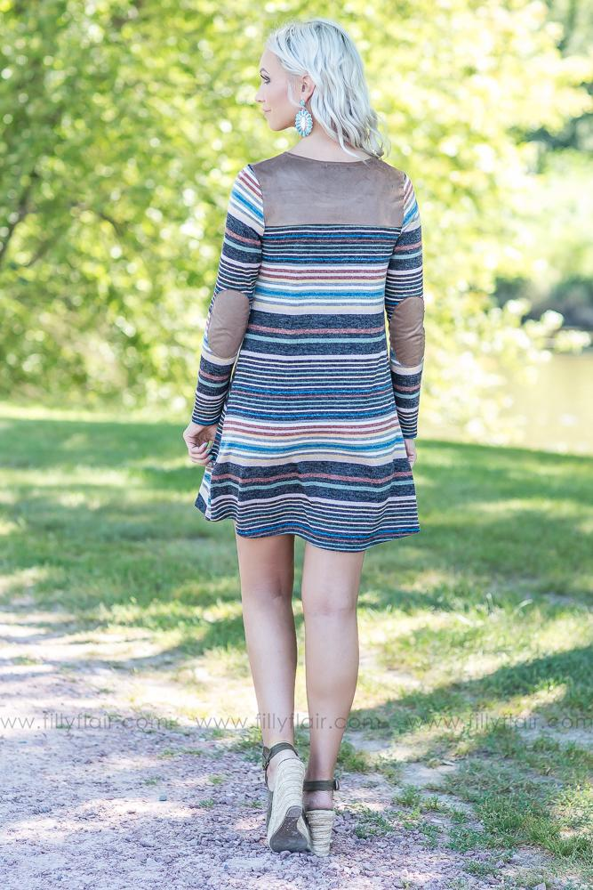 Feels This Right Striped Elbow Patch Dress - Filly Flair