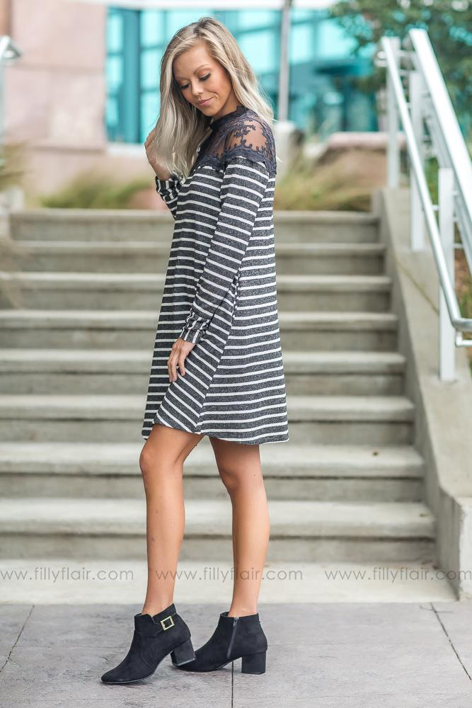 Once In A Lifetime Striped Dress with Lace Detail in Charcoal - Filly Flair