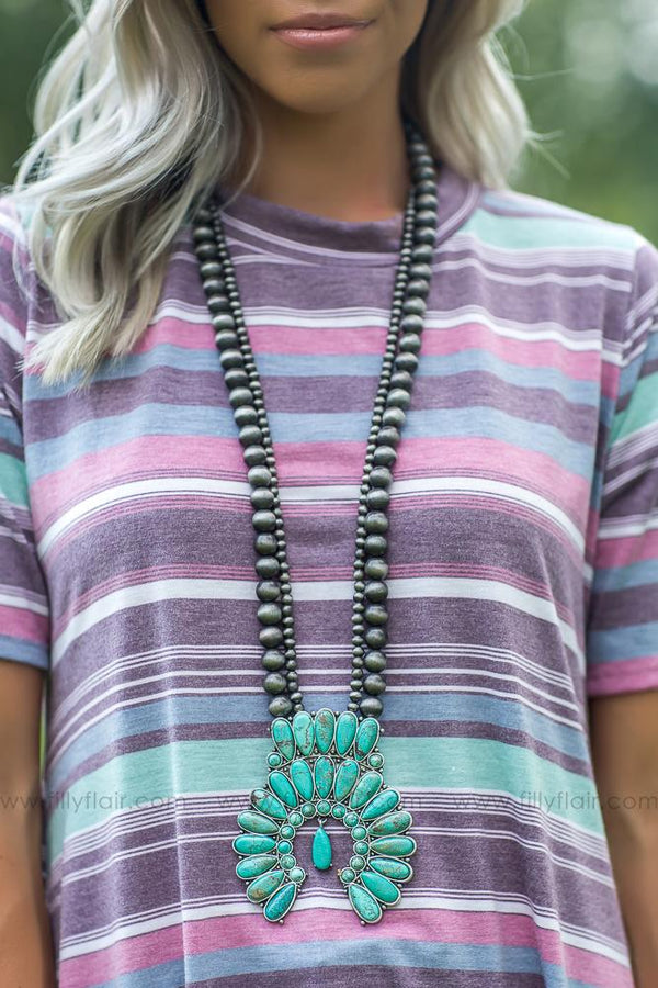 All My Love Authentic Turquoise Squash Blossom Naja Necklace - Filly Flair