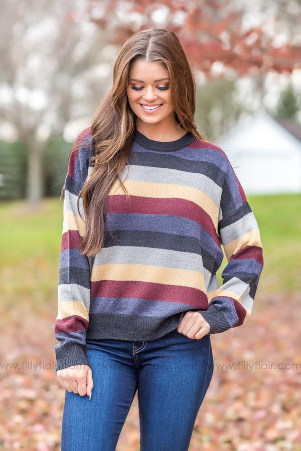 Gets To Me Navy Striped Sweater - Filly Flair
