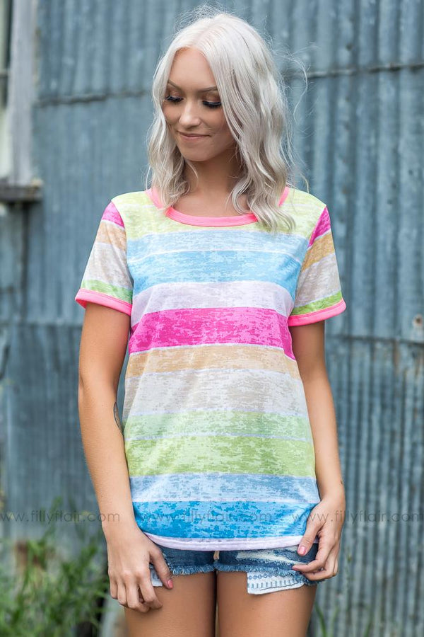 Neon Dreams Multi Colored Striped Top - Filly Flair