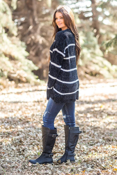 Picture Perfect Striped Sweater in Black - Filly Flair