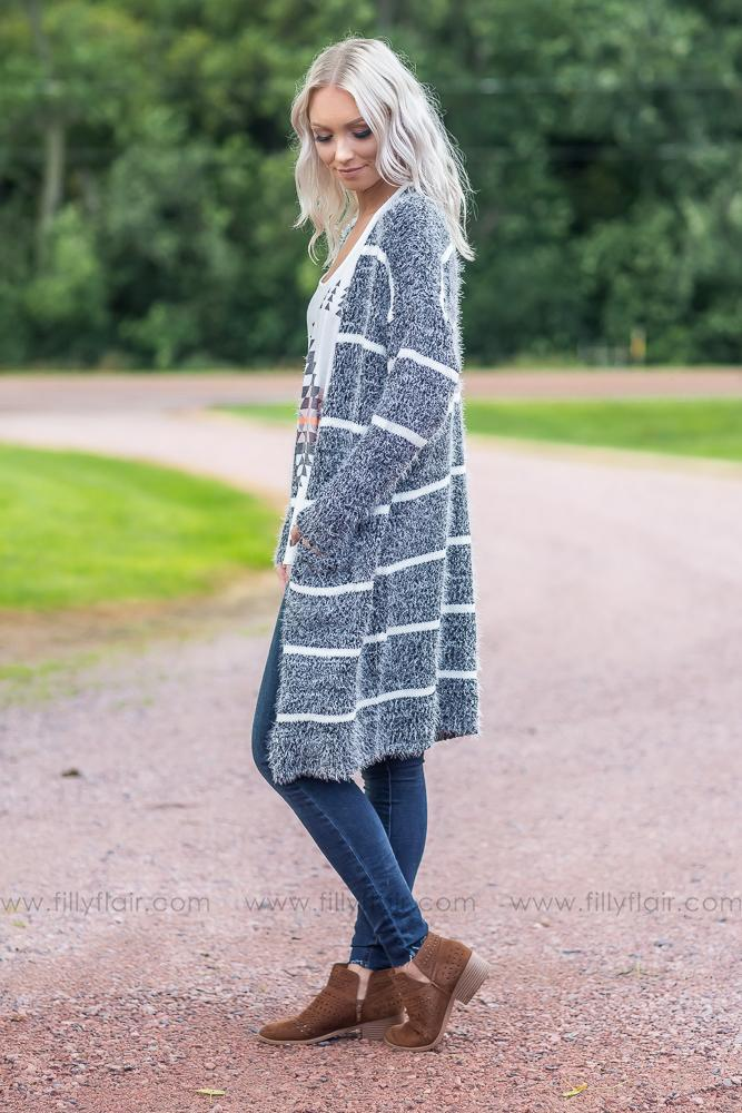 *Getting Cozy Striped Knit Sweater Cardigan in Black and White* - Filly Flair