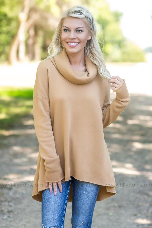 The Longest Wait Long Sleeve Cowl Neck High Low Top In Camel - Filly Flair