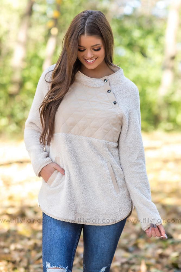 Falling Memories Quilted Fleece Pullover in Cream - Filly Flair