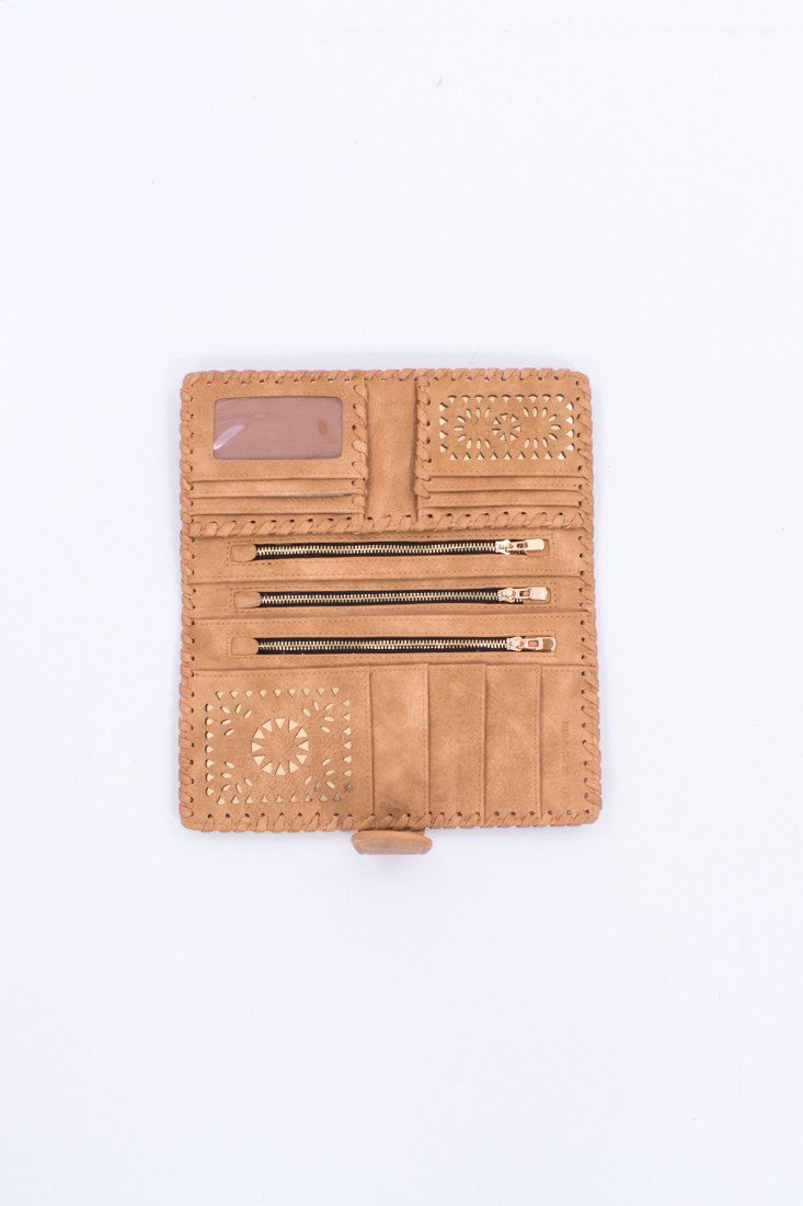Sun Dial Cut Out Wallet in Tan