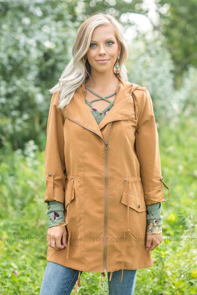 Caught Up In You Zip Up Hooded Jacket in Camel - Filly Flair
