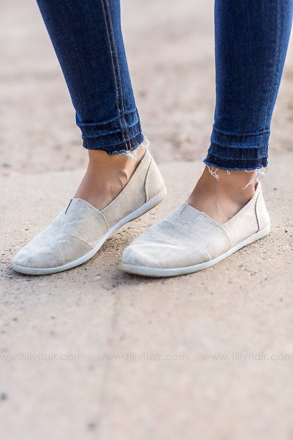 beige canvas slip on shoe