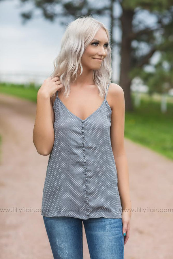 I Want To Love You Button Down Polka Dot Tank Top In Grey