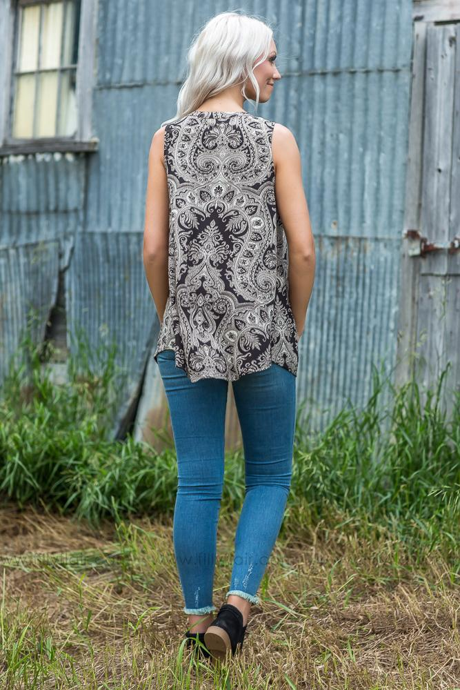 Dust in the Wind Printed Tunic in Brown Taupe - Filly Flair