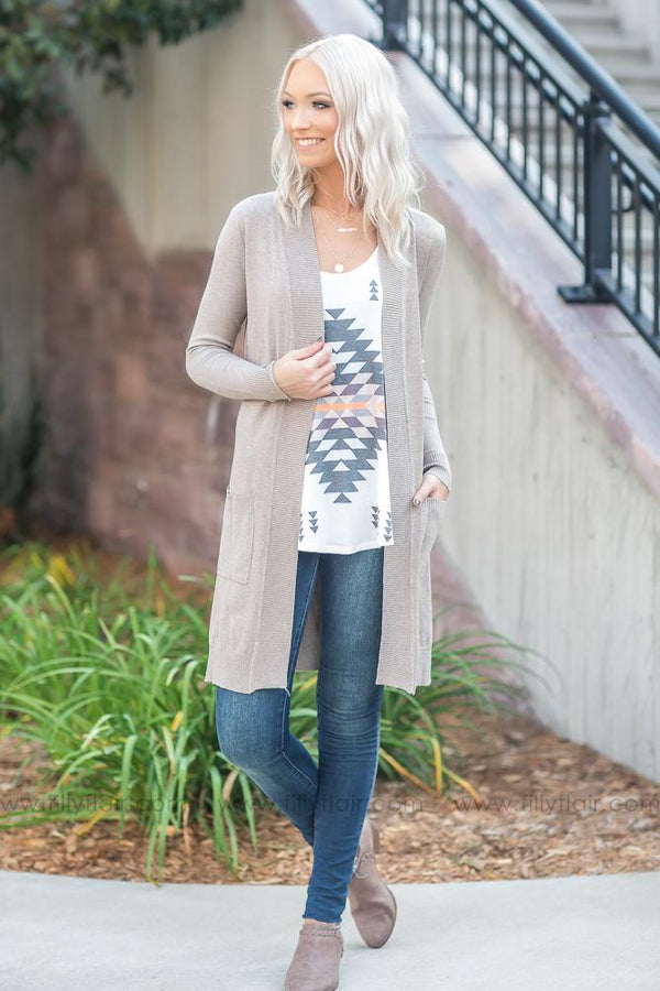 Making It Happen Open Long Cardigan With Pockets In Camel