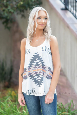 Sets Us Free Multi Color Arrow Long Sleeve Top in White