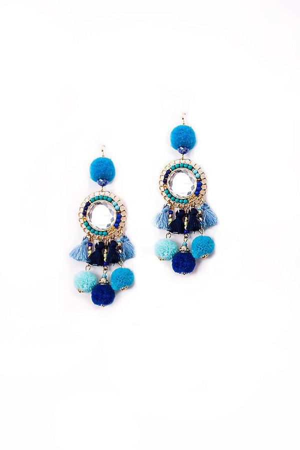 Blue Aztec Pom Pom Tassel Earrings