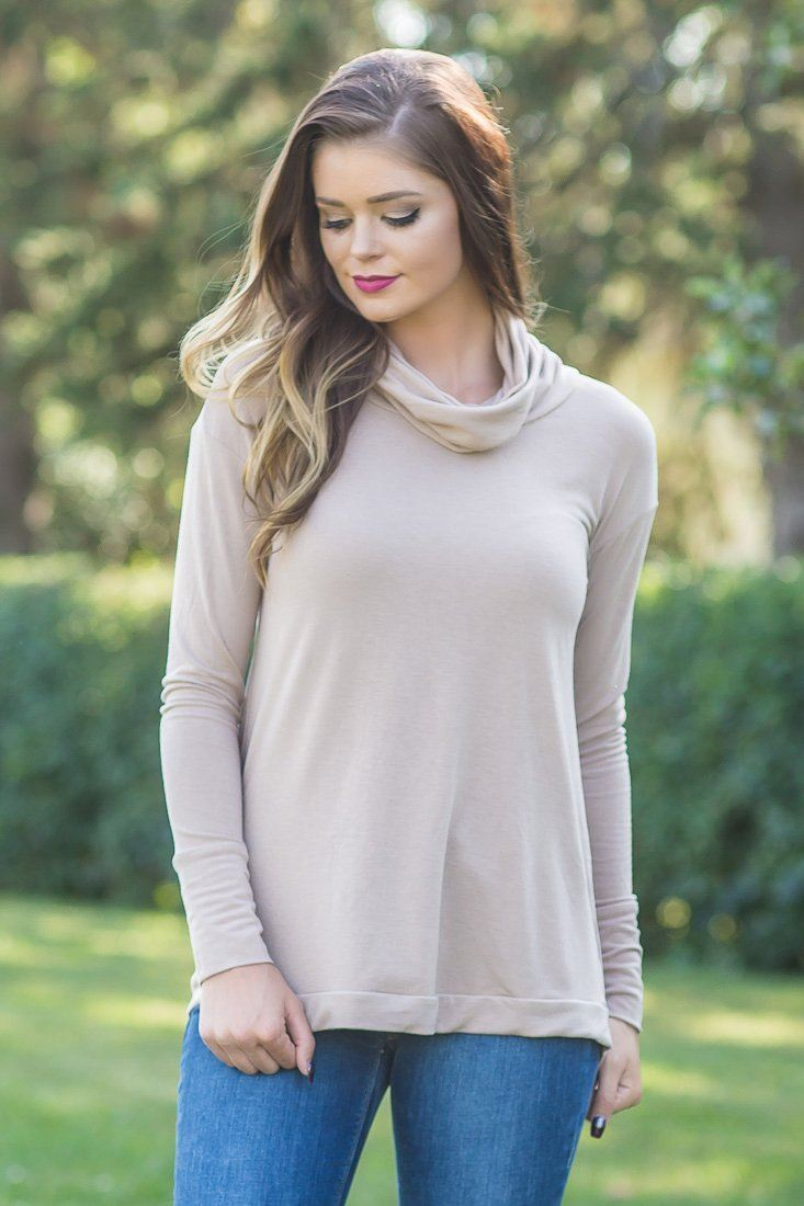 Taupe Long Sleeve Cowl Neck Lace Up Detail Back