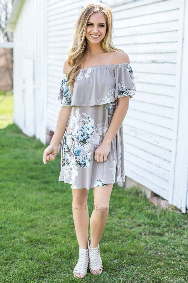 off the shoulder dress in taupe
