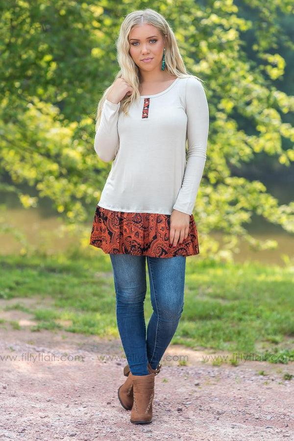 Here With Me Long Sleeve Ruffle Hem Tunic in Taupe - Filly Flair