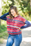Blossoming Soul Chevron Printed Long Sleeve Hoodie in Rust Navy - Filly Flair