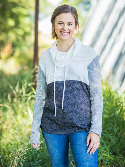 Smile Today Pullover Sweatshirt Waffle Color Block Mock Neck in Black Grey White - Filly Flair