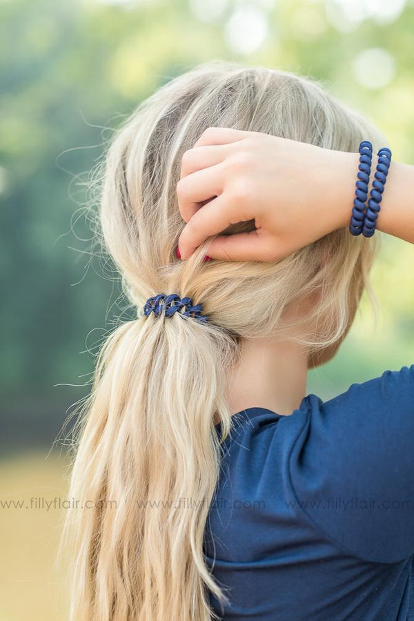 Hotline Hair Ties Pack of Three in Matte Navy - Filly Flair