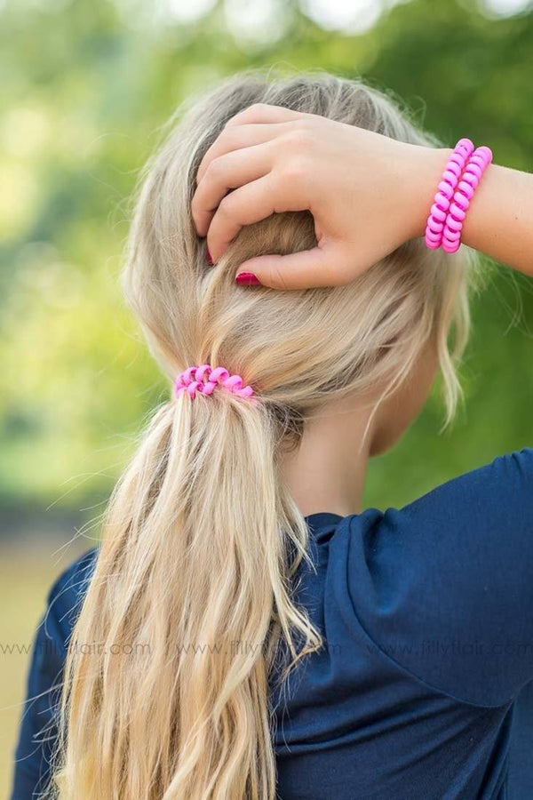 Hotline Hair Ties Pack of Three in Matte Pink - Filly Flair