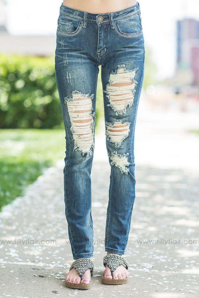 Where I Stand Dark Wash Medium Rise Destroyed Denim Jeans - Filly Flair