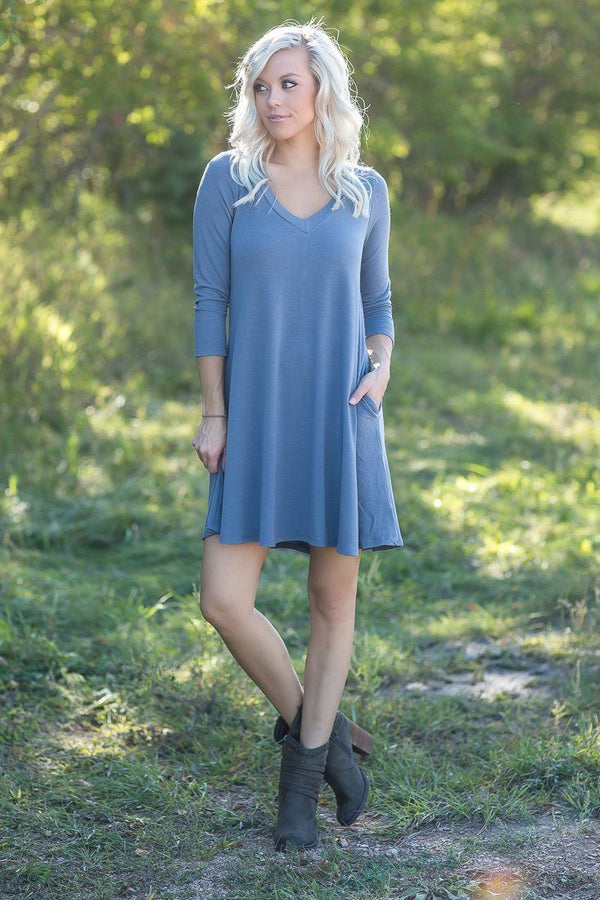 For Your Love 3/4 Sleeve Dress with Pockets in Gray