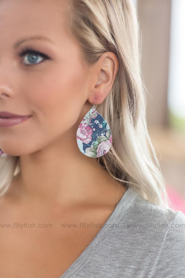 Floral Leather Teardrop Earrings - Filly Flair