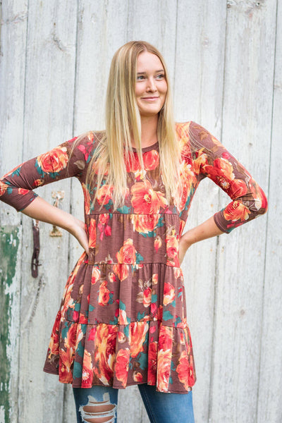 Fields Of Grace Floral Dress Ruffle Boat Neck Long Sleeve in Brunette - Filly Flair
