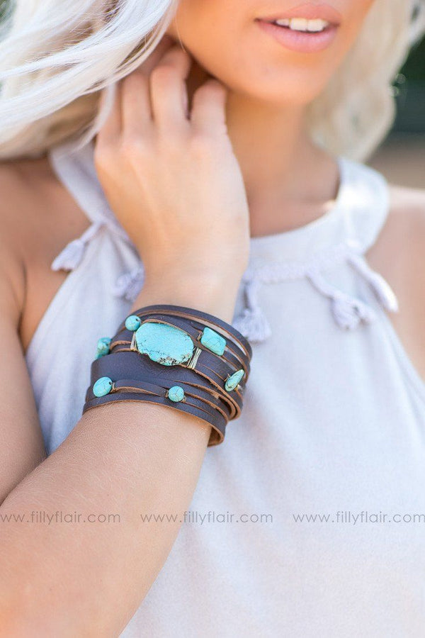Turquoise Natural Stone Leather Multi Strap Bracelet