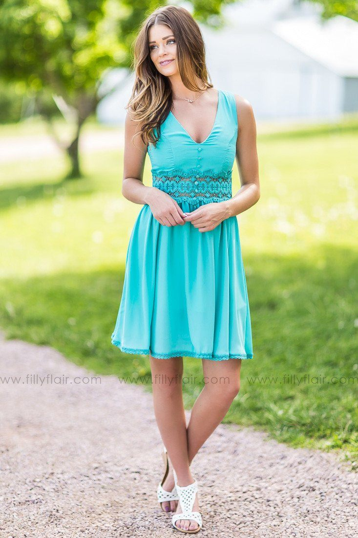 All the Pretty Things Turquoise Lace Trim Dress