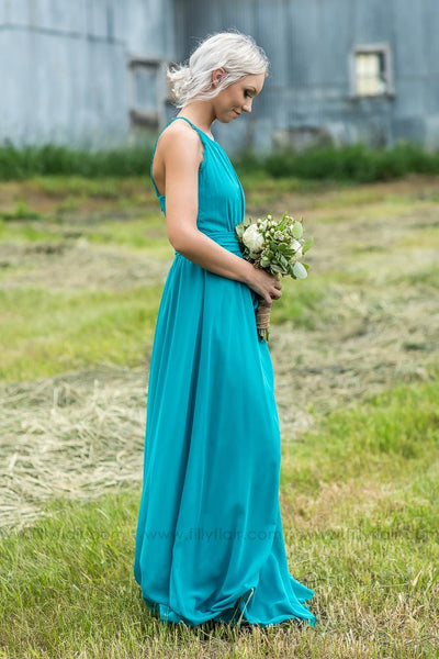 Adeline Bridesmaid Dress In Turquoise - Filly Flair