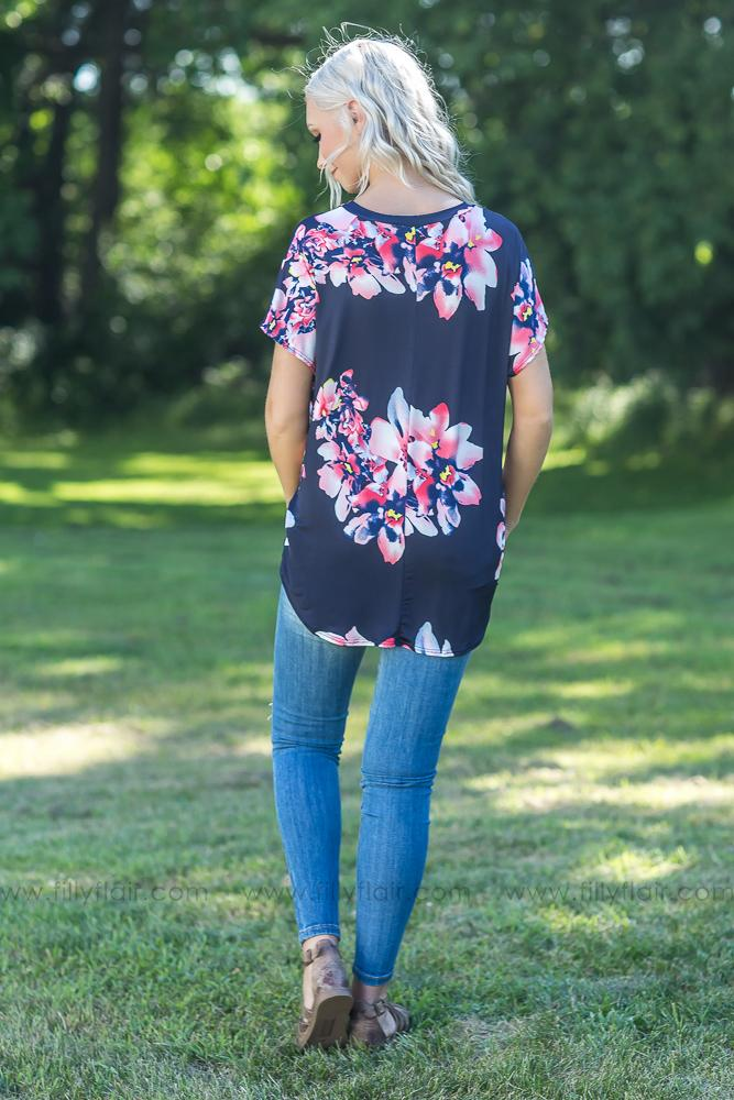 Even Now Floral Top in Navy - Filly Flair