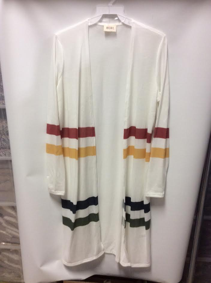 *Take Another Look Long Cardigan with Stripes in White* - Filly Flair