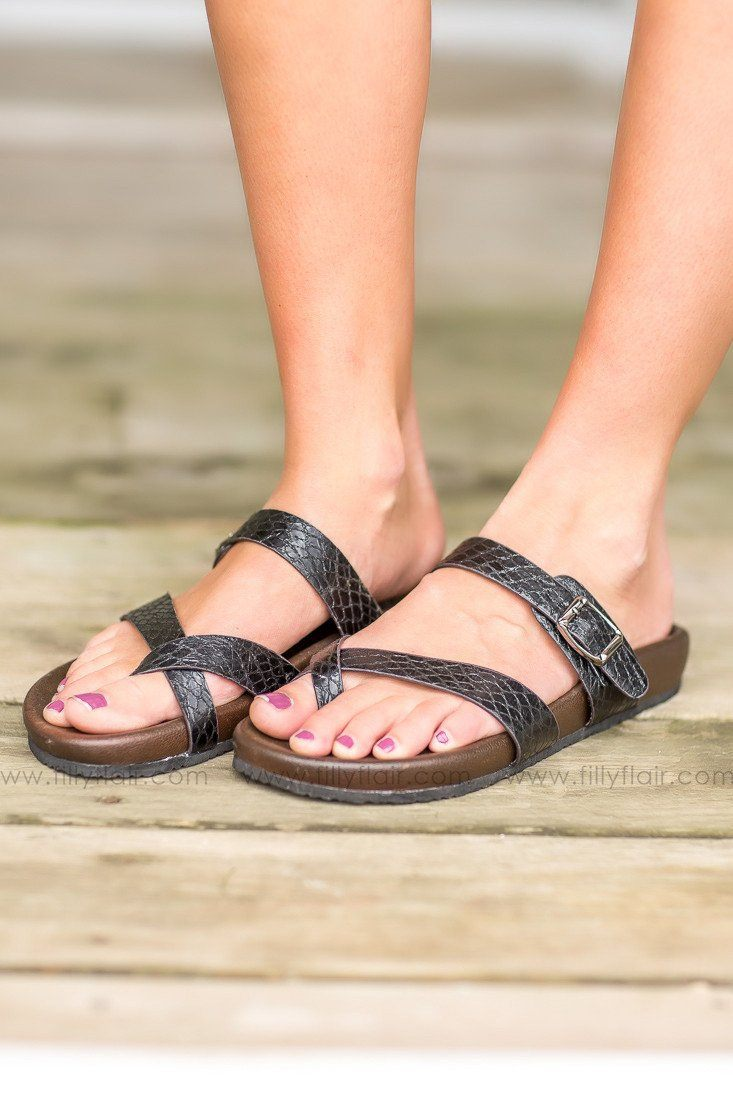 Neva Black Strapped Sandal