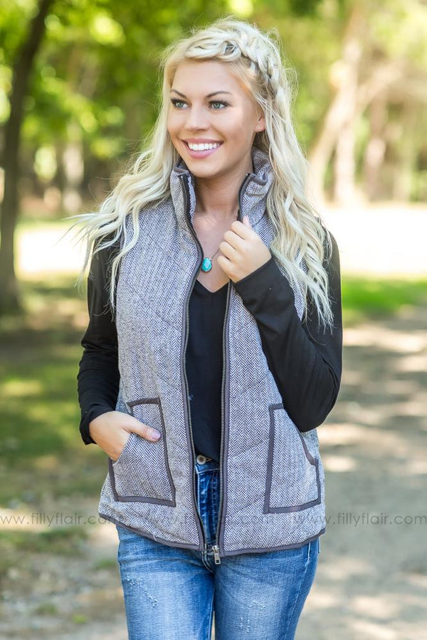 Warm Feeling Chevron Vest in Charcoal - Filly Flair