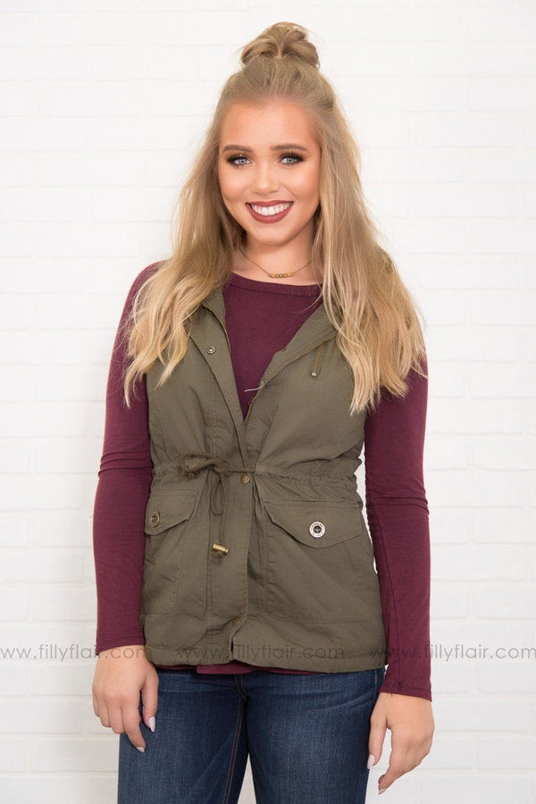 Whistler Anorak Hooded Vest w/ Fur Lining in Olive