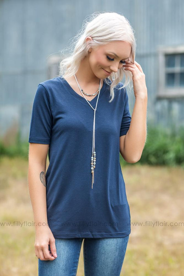 Boyfriend Classic Solid VNeck Tee In Navy - Filly Flair