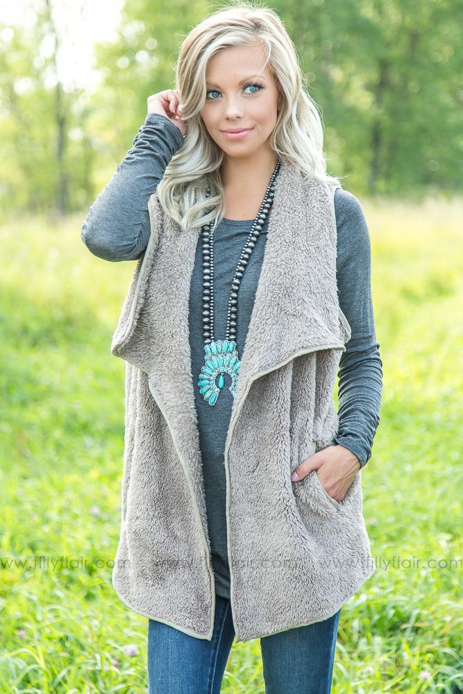 Forever Faux Fur Love Vest in Mocha - Filly Flair